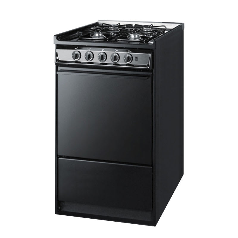 """Summit TNM114R 20"""" Range w/ Electric Ignition & Sealed Burners, Porcelain, Black/Stainless"""