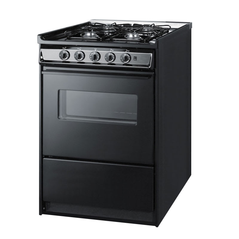 "Summit TNM616RW 24"" Range w/ Electric Ignition, Sealed Burners, Handle & Boiler Tray, Black, NG"