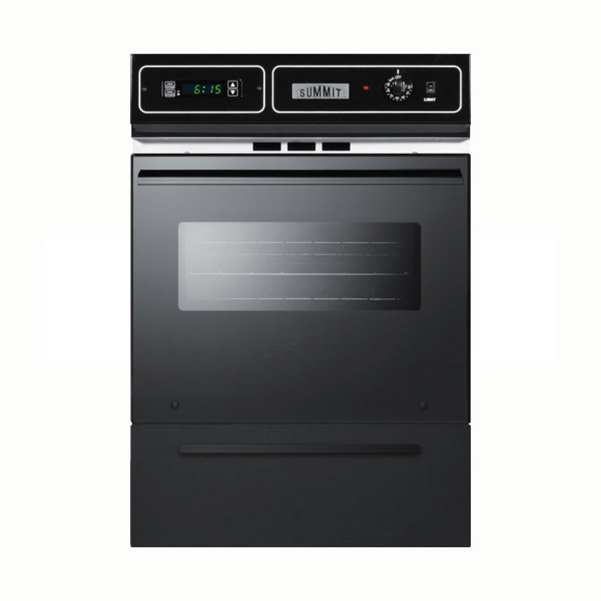 Summit TTM7212KW Wall Oven w/ Electronic Ignition, Digital Clock & Oven Window, Black, NG