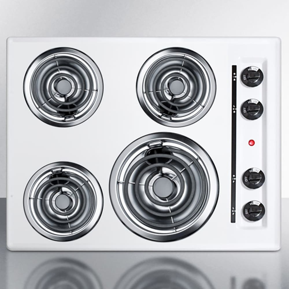 """Summit WEL03 24"""" Cooktop w/ (1) 8"""" Coil Element & (3) 6"""" Coil Elements, White"""