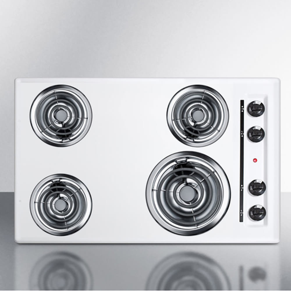 "Summit WEL05 30"" Cooktop w/ (1) 8"" & (3) 6"" Coil Elements, 220v, White"