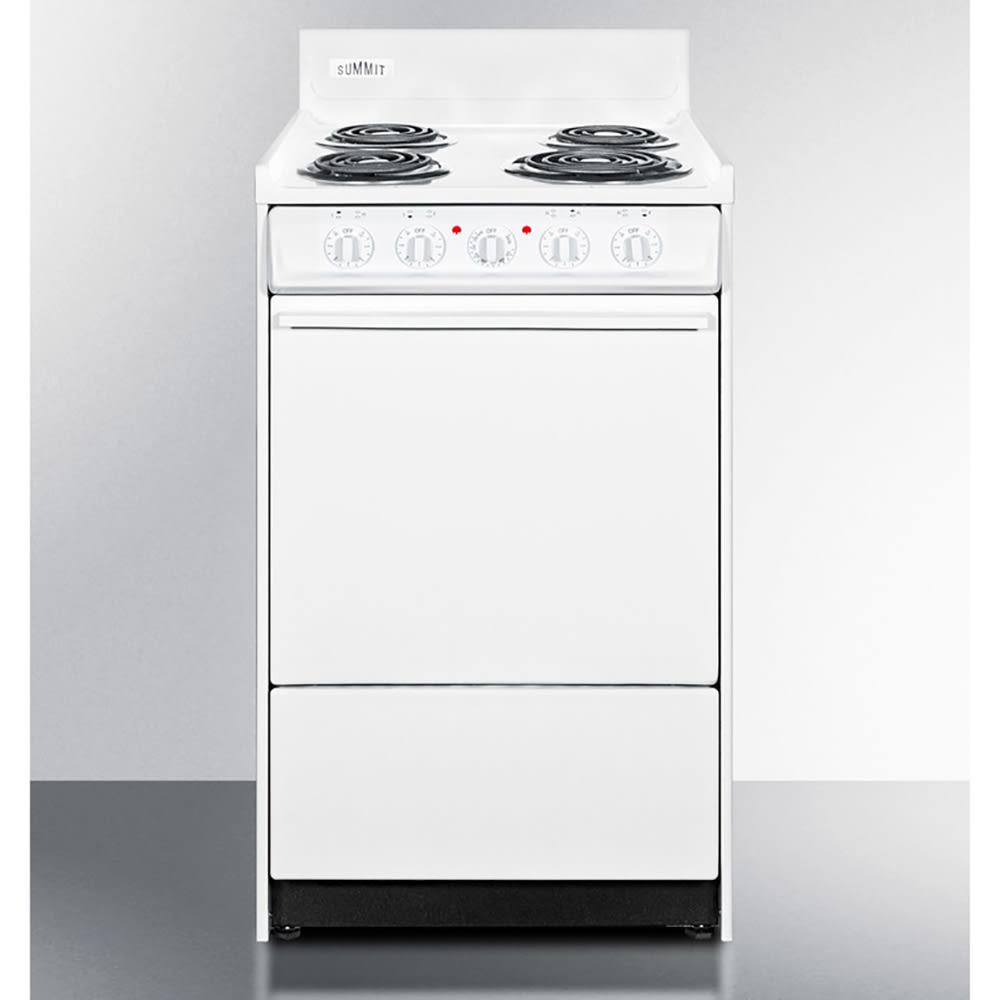 "Summit WEM110 20"" Range w/ Removable Top, Broiler In Oven & 2-Racks, 220v, White"