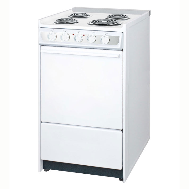 "Summit WEM115R 20"" Range w/ Removable Top, Low Backguard & Broiler In Oven, 220/1V, White"