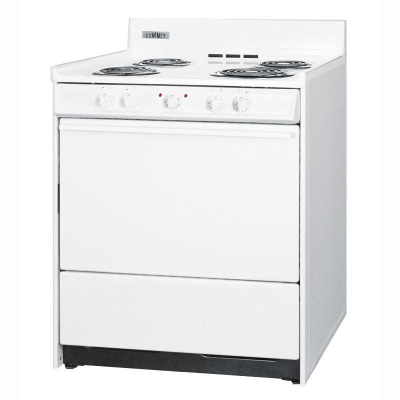 "Summit WEM211 30"" Range w/ Removable Top, 1-Racks & Broiler In Oven, White"