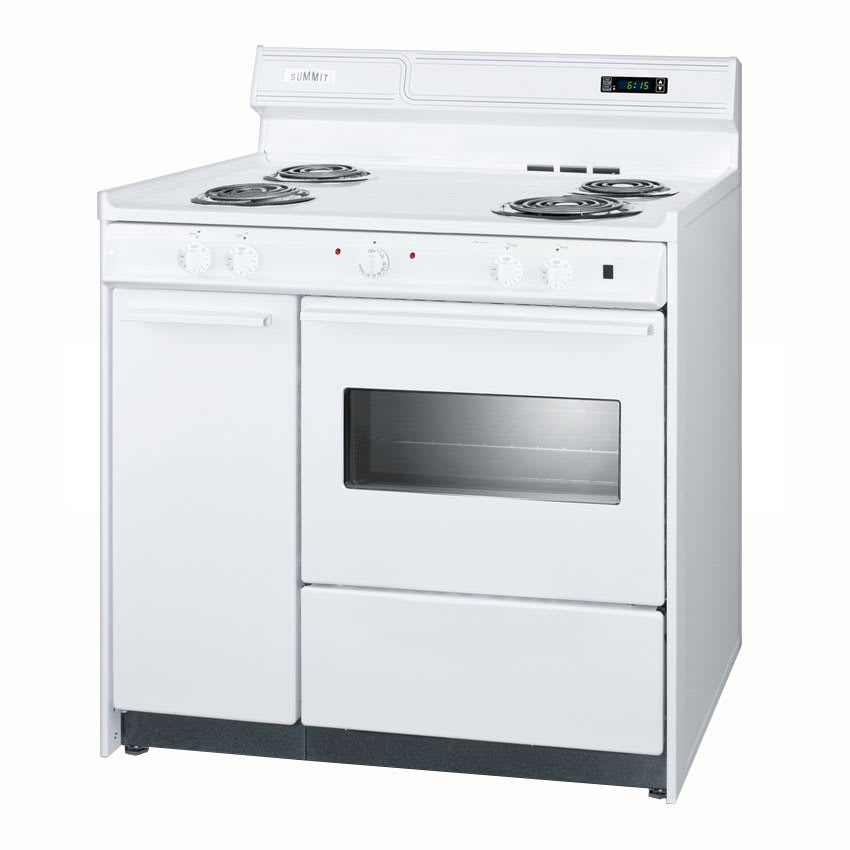 "Summit WEM430KW 36"" Deluxe Electric Range w/ Clock, Timer & Oven Light, White, 2.92-cu ft"