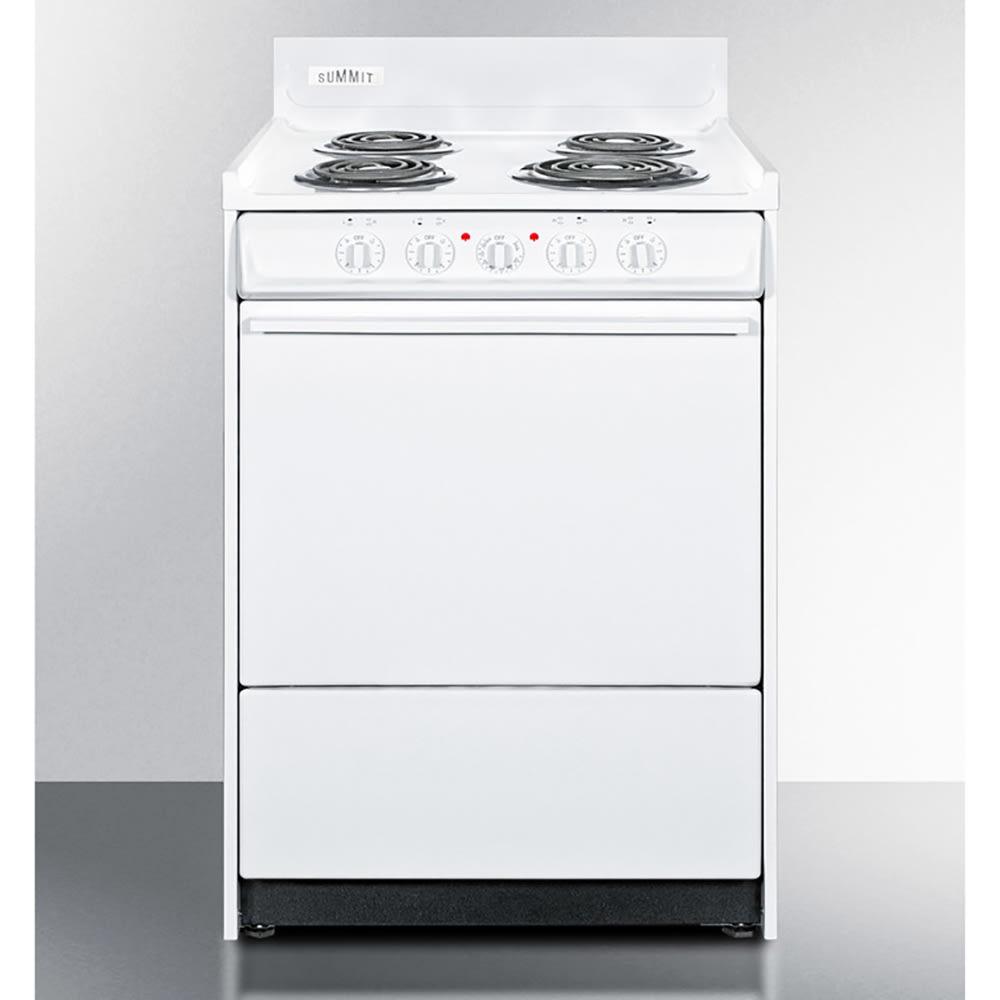 "Summit WEM610 24"" Electric Range w/ Removable Top, 2-Racks & Oven Storage, White"