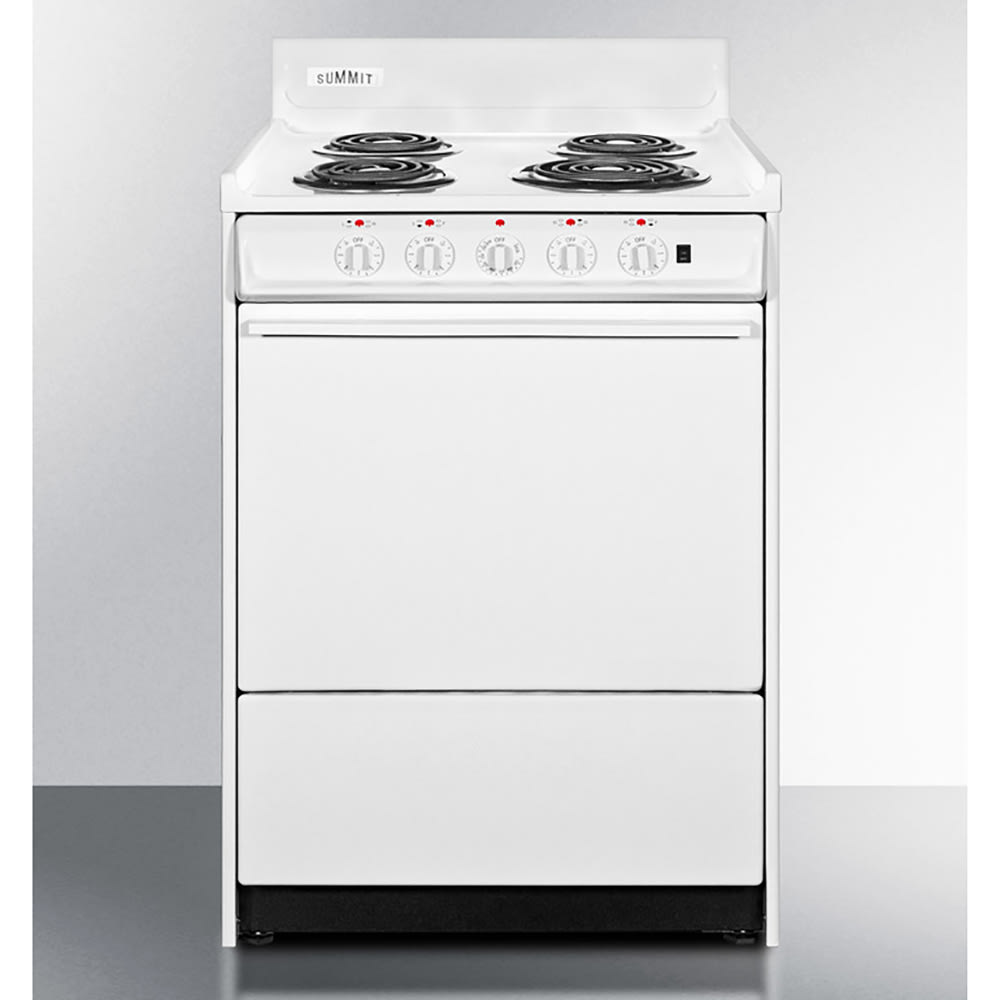 "Summit WEM6171Q 24"" Electric Range w/ Removable Top, White"
