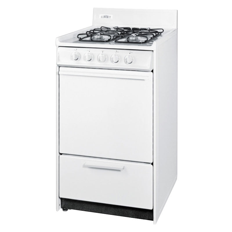 "Summit WNM1107F 20"" Gas Range w/ Sealed Burners & 2-Oven Racks, White, 2.5-cu ft, NG"