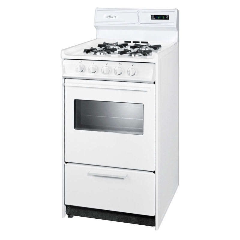 "Summit WNM1307KW 20"" Deluxe Gas Range w/ Electronic Ignition, 2.5-cu ft, NG"