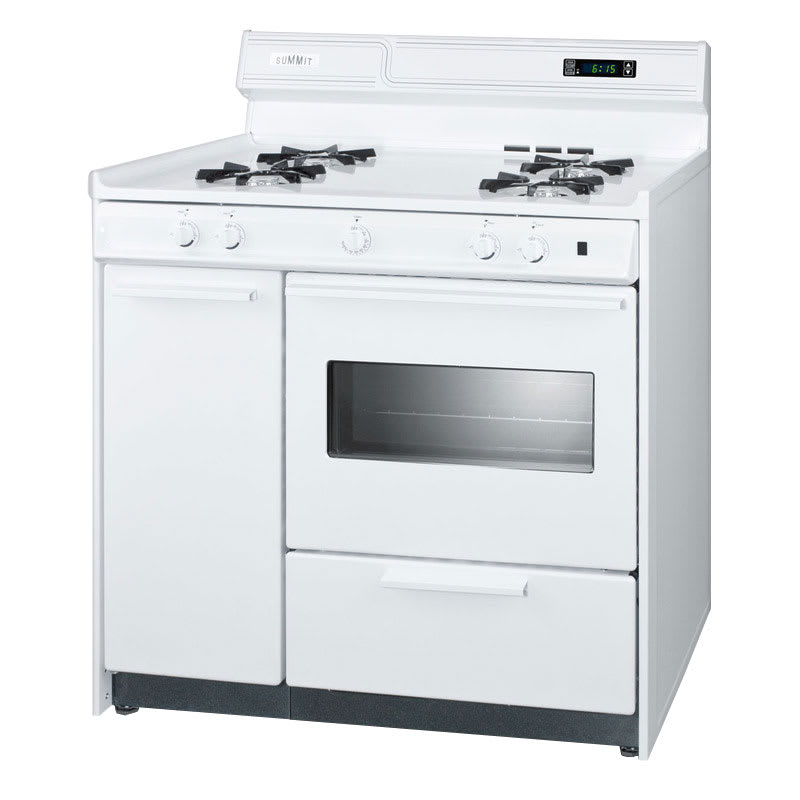 "Summit WNM4307KW 36"" Deluxe Gas Range w/ Electronic Ignition, White, 2.92-cu ft, NG"