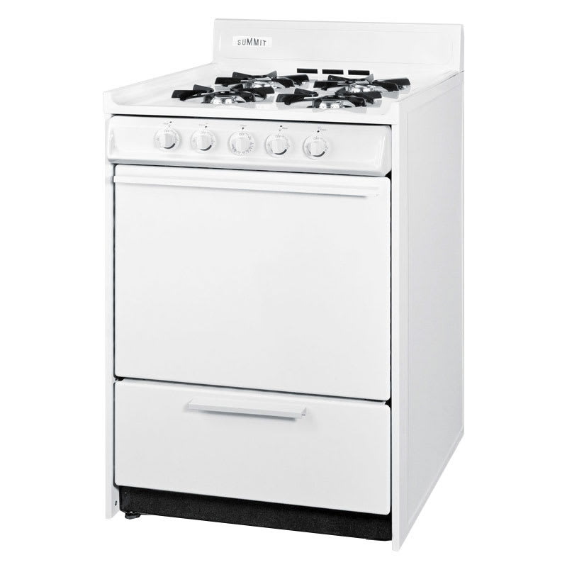 "Summit WNM6107 24"" Gas Range w/ Electronic Ignition, White, 2.9-cu ft, NG"