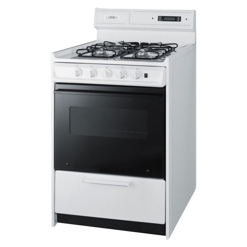 "Summit WNM6307DFK 24"" Deluxe Gas Range w/ Electronic Ignition, Black, 2.9-cu ft, NG"