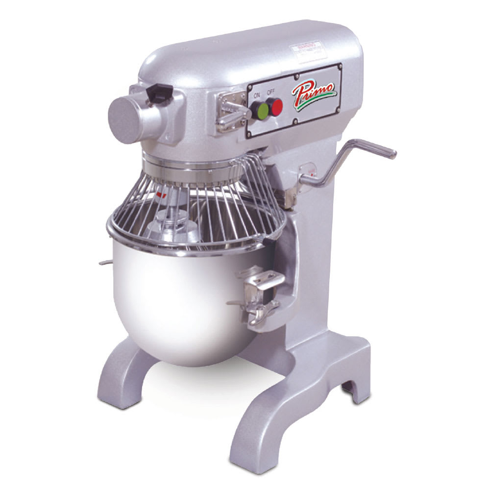 Primo PM10 10-qt Bench Model Planetary Mixer - Bowl, Guard, Wire Whip, Flat Beater, Dough Hook, .5-hp
