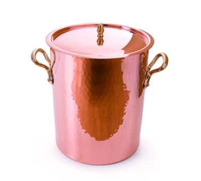 """Mauviel 2157.24 9.5"""" Round M'Tradition Soup Pot w/ 13.7 qt Capacity & Bronze Handle"""