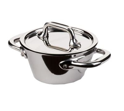 Mauviel 5130.09 3.5-in Round M'minis M'cook Cocotte w/ .2-qt Capacity & Lid, Splayed, Stainless