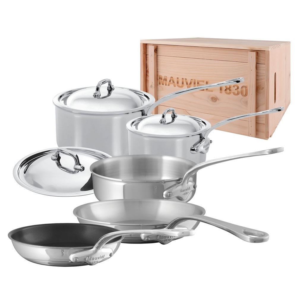 Mauviel 5200.21WC 8 Piece M'Cook Cookware Set w/ Wood Crate, Stainless