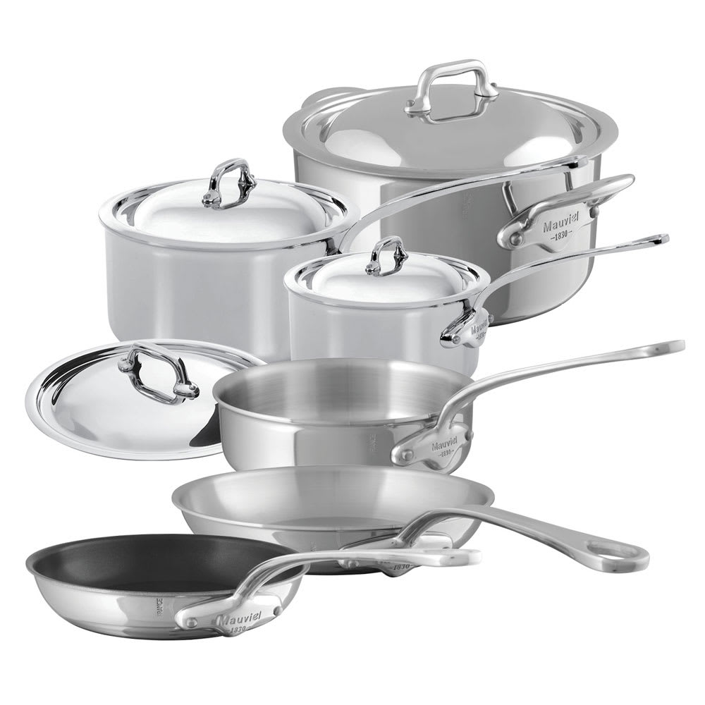 Mauviel 5200.23 10-Piece M'Cook Cookware Set w/ Oversized Handles, Stainless