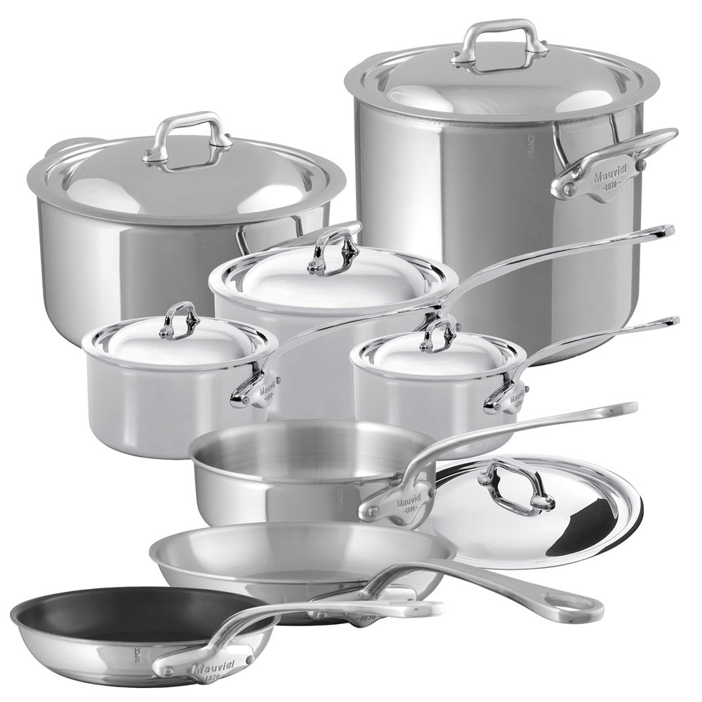 Mauviel 5200.24 14 Piece M'Cook Cookware Set w/ Oversized Handles, Stainless