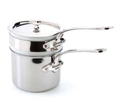 """Mauviel 5204.12 4.8"""" Round M'cook Bain-Marie w/ .9-qt Capacity & Lid, Porcelain Insert, Stainless"""