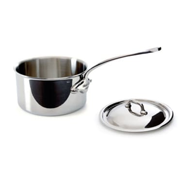 Mauviel 5210.15 1.2 qt Saucepan w/ Cover - Induction Compatible, 18/10 Stainless