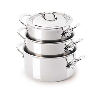 "Mauviel 5231.17 6.3"" M'cook Sauce Pan w/ 1.9 qt Capacity & Handles, Lid, Stainless"