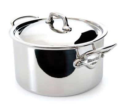 "Mauviel 5231.25 9.5"" Round M'cook Stew Pan w/ 6.4 qt Capacity & Handles, Lid, Stainless"