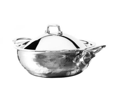 Mauviel 5272.21 Mellte Splayed Saute Pan w/ 1.7 qt Capacity & Dome Lid, Stainless