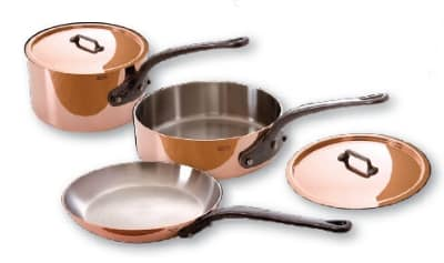 Mauviel 6400.01WC 5-Piece Cookware Set w/ Cast Iron Handles, Wood Crate