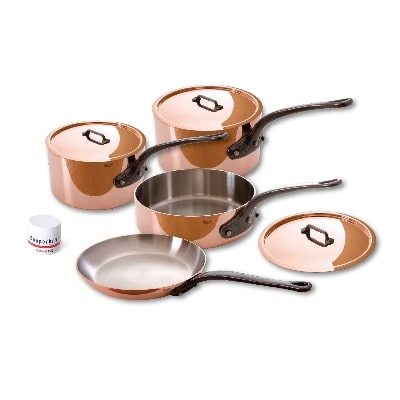 Mauviel 6450.02WC 7-Piece Copper & Stainless Cookware Set w/ Cast Stainless Handles