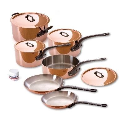 Mauviel 640004 10-Piece Cookware Set w/ Cast Iron Handles