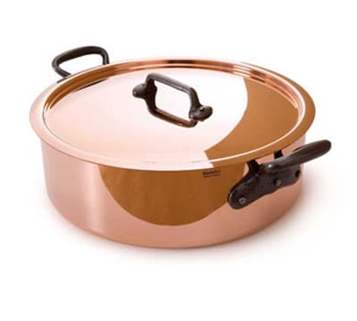 "Mauviel 6430.29 11"" Round Rondeau Pan w/ 4.9 qt Capacity & Brushed Stainless Handle, Lid, Copper"
