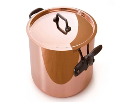 "Mauviel 6432.25 9.5"" Round M'150s Stock Pot w/ 11.7 qt Capacity & Cast Iron Handle, Lid, Copper"