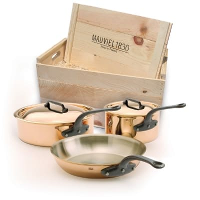 Mauviel 6501.00WC 5-Piece M'heritage Cookware Set w/ Cast Iron Handles, Wood Crate