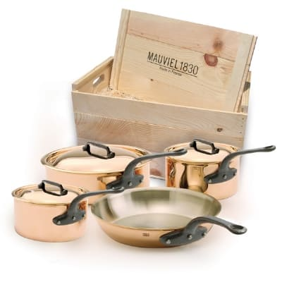 Mauviel 6502.01WC 7 Piece M'heritage Cookware Set w/ Cast Iron Handles, Wood Crate