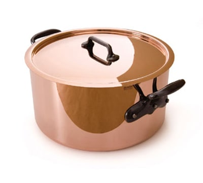 "Mauviel 6505.02 9.5"" Round M'250c Stew Pan w/ 6.4-qt Capacity & Brushed Stainless Handle, Lid, Copper"