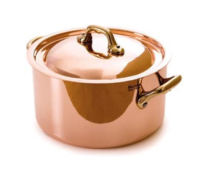 Mauviel 6522.12 4.8-in Oval M'150b Cocotte w/ .9-qt Capacity & Bronze Handles, Lid, Copper