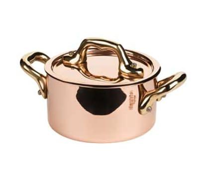 """Mauviel 6531.09 3.5"""" Round M'minis M'150b Cocotte w/ .3-qt Capacity & Bronze Handle, Lid, Copper"""