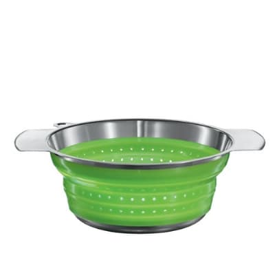 Rosle 16122 7.9-in Collapsible Colander, Stainless Steel, Green