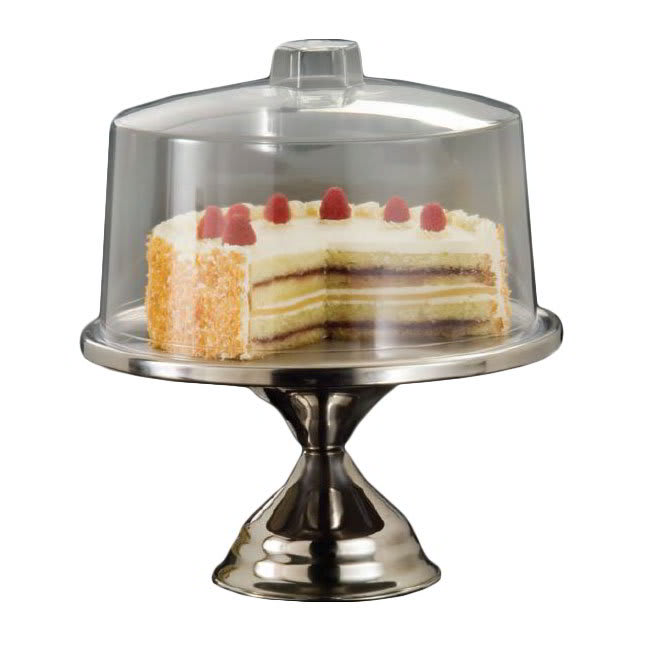 "American Metalcraft 19SET 13.5"" Cake Stand w/ Break Resistant Cover, Bright Finish, Clear/Stainless"