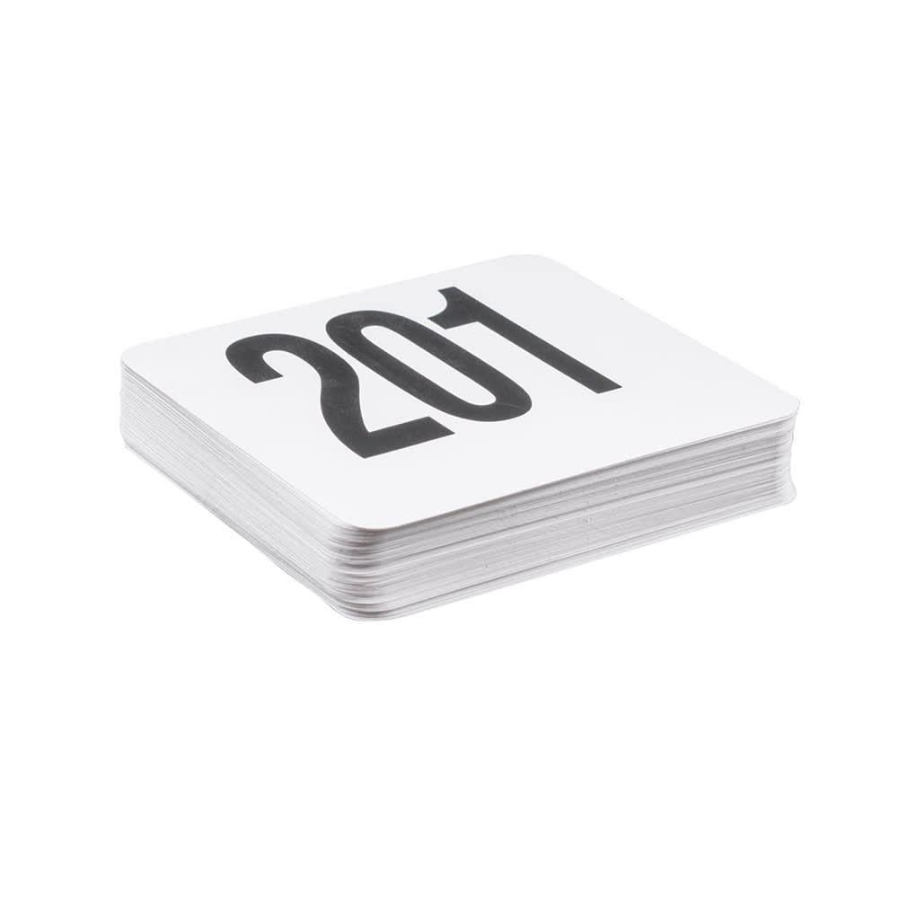 "American Metalcraft 4250 Tabletop Number Cards - #201-250, 4"" x 4"", White/Black"
