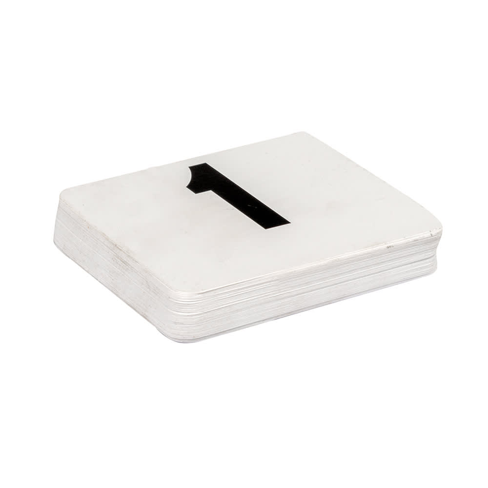 "American Metalcraft 450 Tabletop Number Cards - #1 50, 4"" x 4"", White/Black"