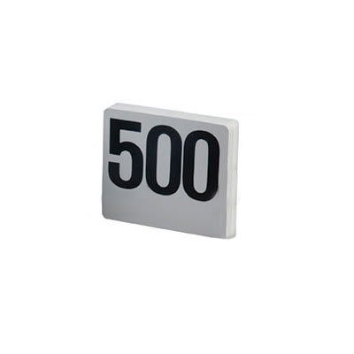 "American Metalcraft 4500 Tabletop Number Cards - #451 500, 4"" x 4"", White/Black"