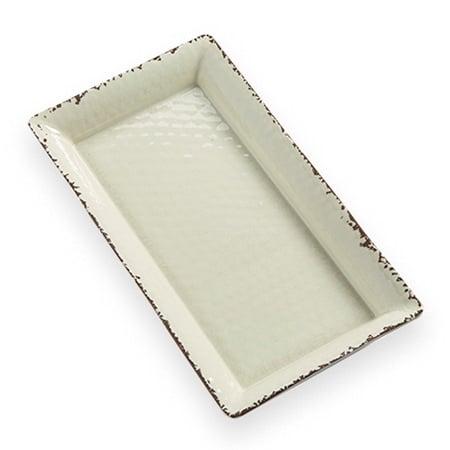 "American Metalcraft AWMEL19 Rectangular Platter, 14"" x 7.5"" x 1.5"", Melamine, Antique White"