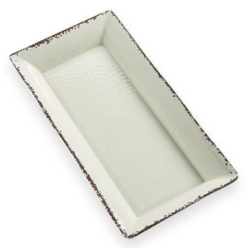 "American Metalcraft AWMEL23 Rectangular Platter, 18"" x 8"" x 2"", Melamine, Antique White"