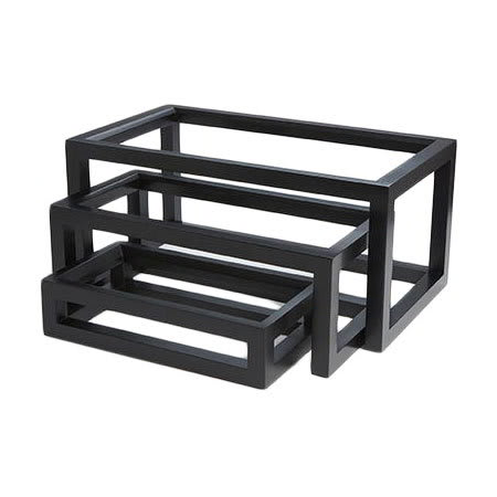 American Metalcraft AWR10 3 Piece Riser Set, Lacquered Wood, Black