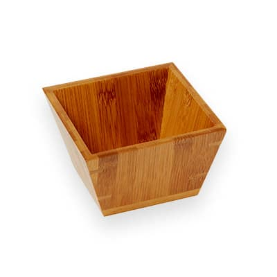 "American Metalcraft BAM53 5"" Square Bamboo Bowl"