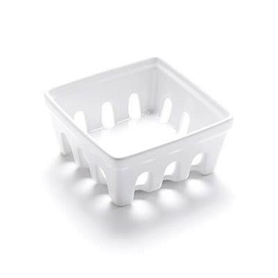 "American Metalcraft BBSKT2 4-3/4"" Square Berry Basket - White Ceramic"