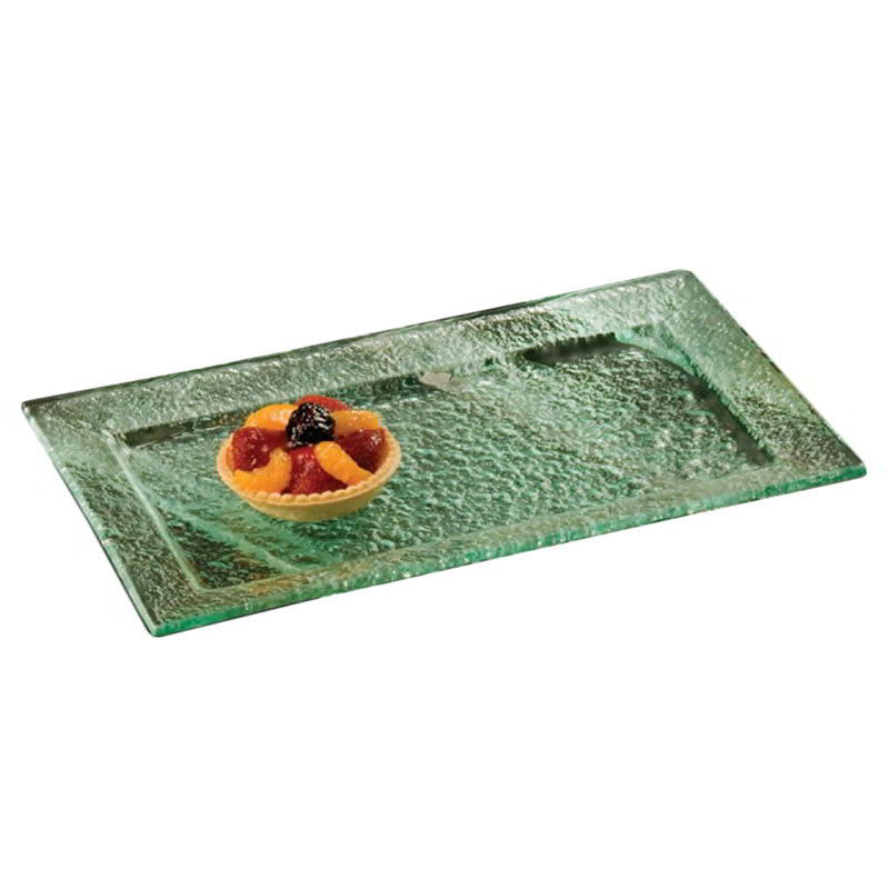 "American Metalcraft BG159 Rimmed Rectangular Platter, 15x9"", Glass/Green"