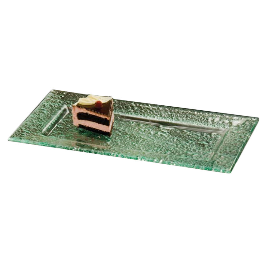 "American Metalcraft BG2113 Rimmed Rectangular Platter, 21x13"", Glass/Green"