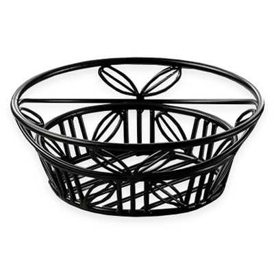 "American Metalcraft BLLB94 9"" Bread Basket w/ Leaf Design, Wrought Iron/Black"